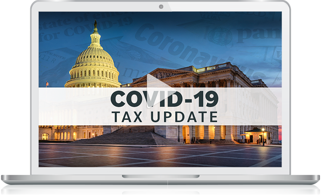 Laptop with COVID-19 Tax Update video
