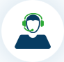 Icon of person wearing phone headset