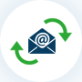 Icon of envelope with clockwise arrows