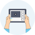Icon of hands holding tablet and watching video