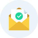 Icon of yellow envelope with green checkmark