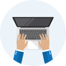 Icon of hands typing on laptop