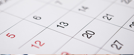 Photo of desk calendar dates at an angle