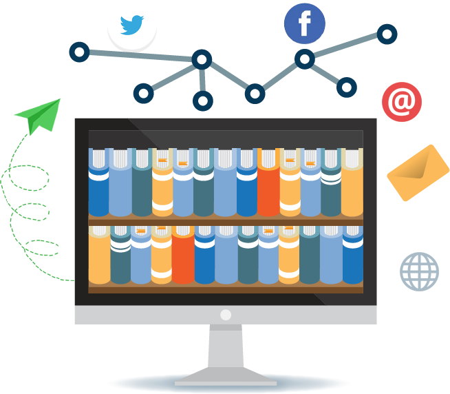 Illustration of bookcase filled with books surrounded by social networking icons, envelopes, and paper airplanes