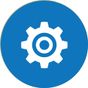 Circular blue icon with white gear