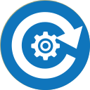 Circular blue icon with white gear surrounded by clockwise arrow