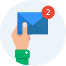 Icon of hand holding blue envelope with 2 new messages notification