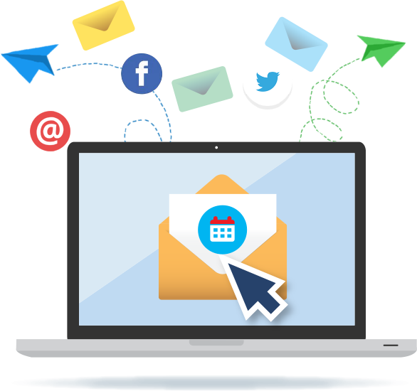 Illustration of laptop with open envelope and pointer surrounded by envelopes and social networking icons