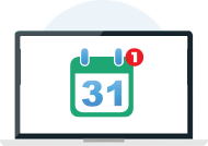 Icon of laptop with calendar showing 31 and one new message notification