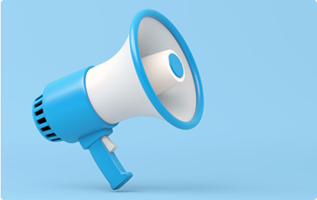 Photo of blue bullhorn with light blue background