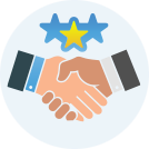 Icon of two businessmans hands shaking with three stars above
