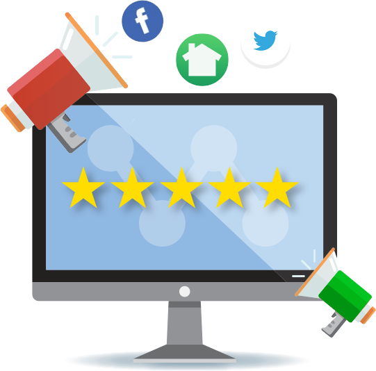 Illustration of monitor with 5 yellow stars surrounded by bullhorns and social media icons