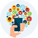 Icon of hand holding smartphone surrounded by circular icons of people and social networking icons