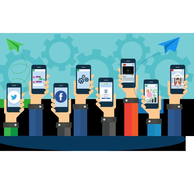 Illustration of many hands holding up smartphones