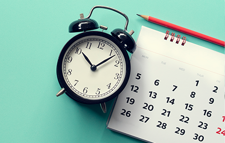 Photo of clock and calendar