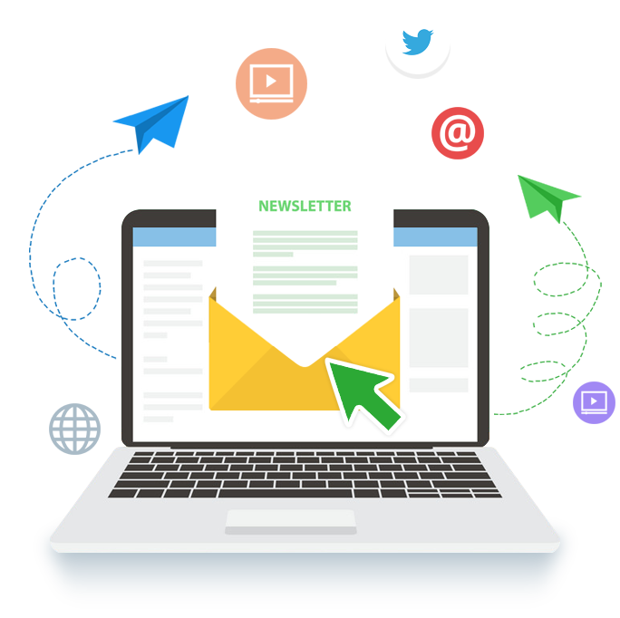 Laptop viewing newsletter in open envelope surrounded by social and sharing icons